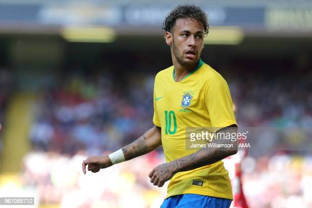 Neymar of Brazil during the International friendly match between Croatia and Brazil at Anfield on June 3 2018 in Liverpool England