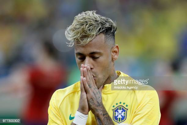 Neymar of Brazil gestures during 2018 FIFA World Cup Russia Group E match between Brazil and Switzerland at Rostov Arena in RostovonDon Russia on...