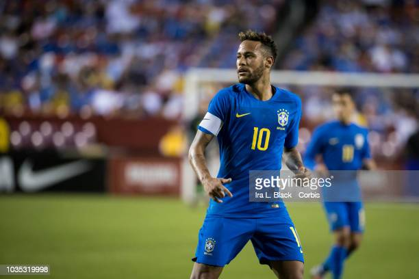 Neymar of Brazil gets ready for the break away during the international friendly soccer match between Brazil and El Salvador at FedExField on...