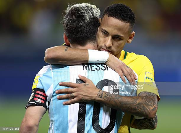 Neymar of Brazil greets Lionel Messi of Argentina during a match between Brazil and Argentina as part of 2018 FIFA World Cup Russia Qualifier at...