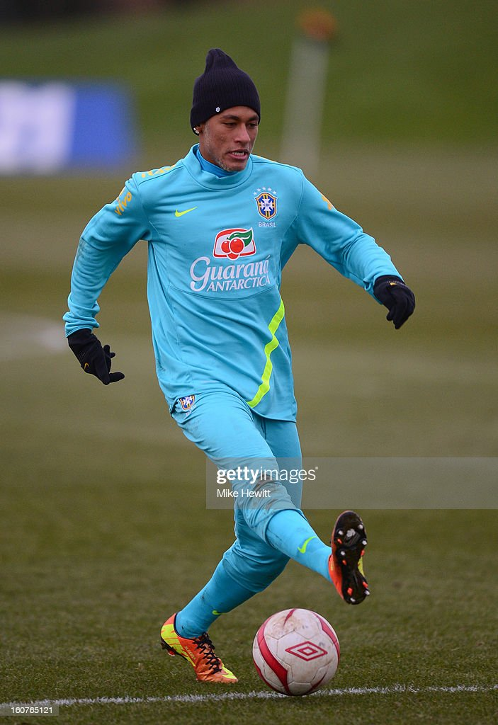 Neymar of Brazil in action during a Brazil training session at The Hive football centre on February 5, 2013 in London, England.
