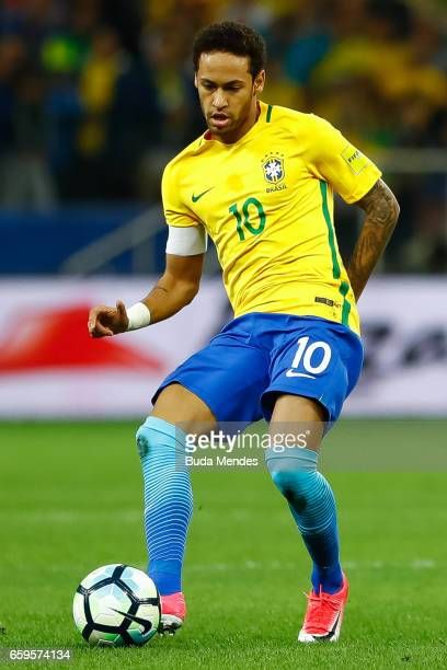 Neymar of Brazil in action during a match between Brazil and Paraguay as part of 2018 FIFA World Cup Russia Qualifier at Arena Corinthians on March...