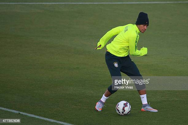 Neymar of Brazil in action during a training session at Monumental Stadium on June 16 2015 in Santiago Chile Brazil will face Colombia as part of...