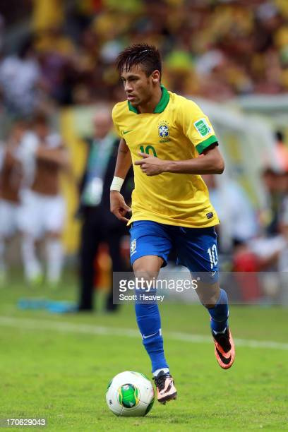 Neymar of Brazil in action during the FIFA Confederations Cup Brazil 2013 Group A match between Brazil and Japan at National Stadium on June 15 2013...
