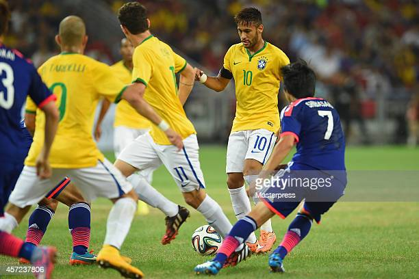 Neymar of Brazil in action during the international friendly match between Japan and Brazil at the National Stadium on October 14 2014 in Singapore