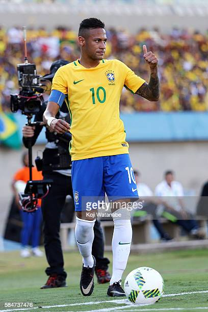 Neymar of Brazil in action during the international friendly match between Japan and Brazil at the Estadio Serra Dourada on July 30 2016 in Goiania...