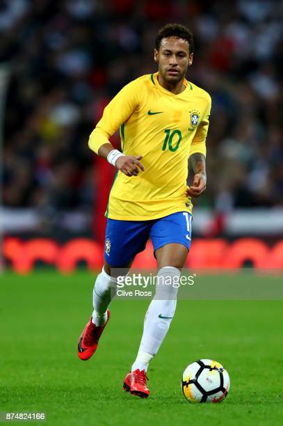 Neymar of Brazil in action during the International Friendly match between England and Brazil at Wembley Stadium on November 14 2017 in London England