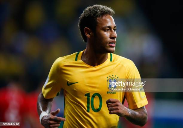 Neymar of Brazil in action during the match between Brazil and Chile for the 2018 FIFA World Cup Russia Qualifier at Allianz Parque Stadium on...
