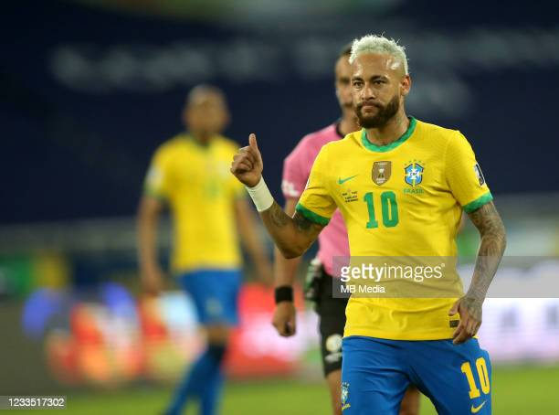 Neymar of Brazil in action during the match between Brazil and Peru as part of the Conmebol Copa America Brazil 2021 at Estadio Olímpico Nilton...