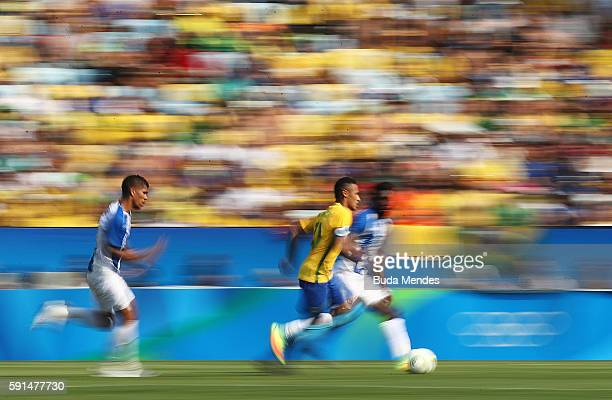 Neymar of Brazil in action during the Men's Semifinal Football match between Brazil and Honduras at Maracana Stadium on Day 12 of the Rio 2016...