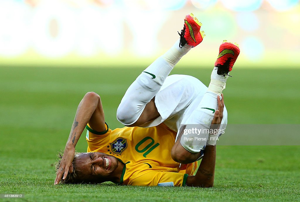 Neymar of Brazil is brought down during the 2014 FIFA World Cup Brazil Round of 16 match between Brazil and Chile at Estadio Mineirao on June 28, 2014 in Belo Horizonte, Brazil.