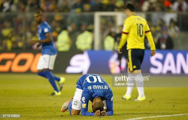 Neymar of Brazil laments after missing a chance at goal during the 2015 Copa America Chile Group C match between Brazil and Colombia at Monumental...