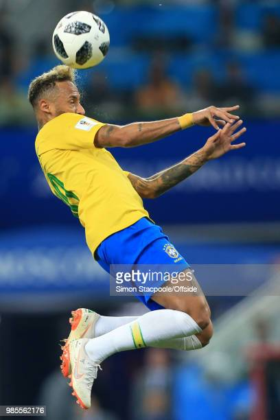 Neymar of Brazil leaps for a header during the 2018 FIFA World Cup Russia Group E match between Serbia and Brazil at Spartak Stadium on June 27, 2018...