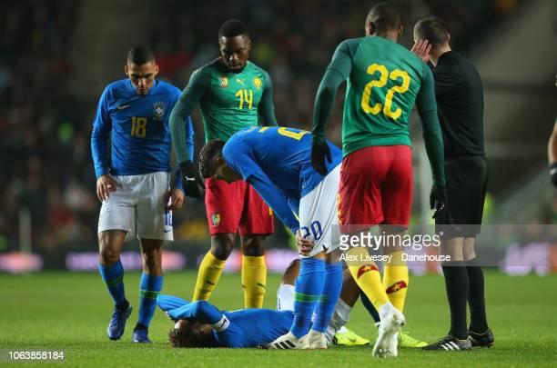 Neymar of Brazil lies injured during the International Friendly match between Brazil and Cameroon at Stadium mk on November 20 2018 in Milton Keynes...