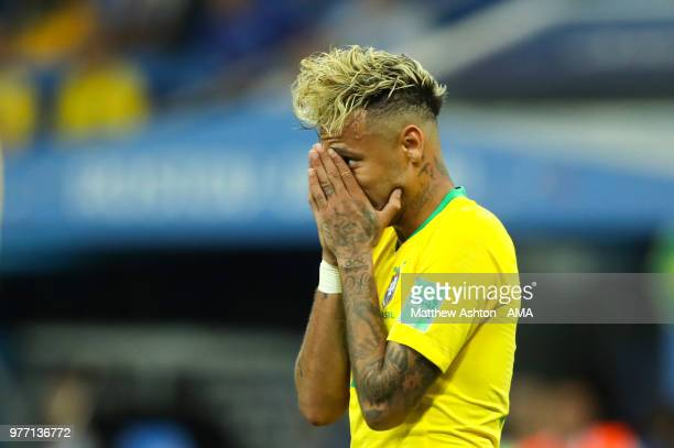 Neymar of Brazil looks dejected during the 2018 FIFA World Cup Russia group E match between Brazil and Switzerland at Rostov Arena on June 17 2018 in...