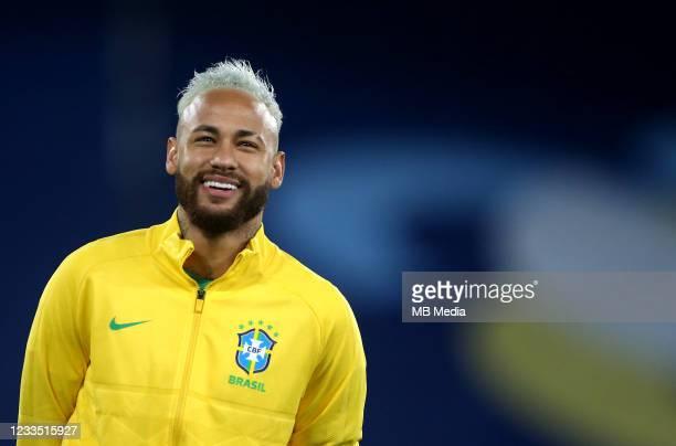 Neymar of Brazil looks on ahead of the match between Brazil and Peru as part of Conmebol Copa America Brazil 2021 at Estadio Olímpico Nilton Santos...