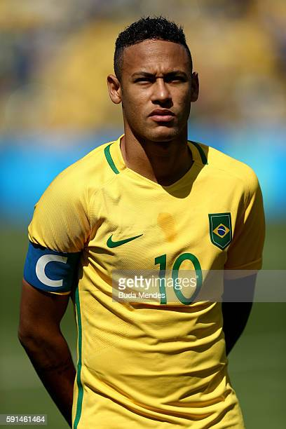 Neymar of Brazil looks on ahead of the Men's Semifinal Football match between Brazil and Honduras at Maracana Stadium on Day 12 of the Rio 2016...