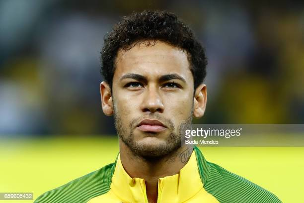 Neymar of Brazil looks on before a match between Brazil and Paraguay as part of 2018 FIFA World Cup Russia Qualifier at Arena Corinthians on March 28...