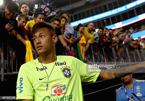 Neymar of Brazil looks on before an international friendly against the United States at Gillette Stadium on September 8 2015 in Foxboro Massachusetts
