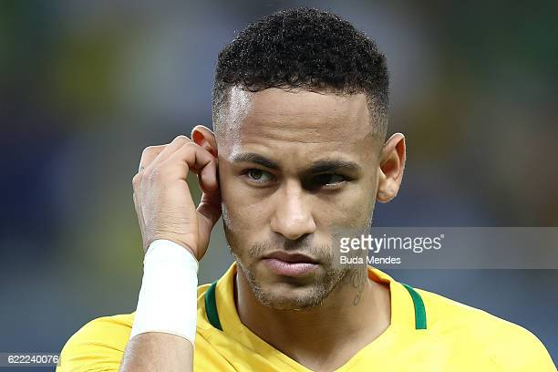 Neymar of Brazil looks on during a match between Brazil and Argentina as part of 2018 FIFA World Cup Russia Qualifier at Mineirao stadium on November...