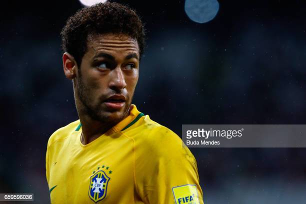 Neymar of Brazil looks on during a match between Brazil and Paraguay as part of 2018 FIFA World Cup Russia Qualifier at Arena Corinthians on March 28...