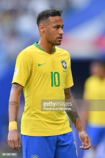 Neymar of Brazil looks on during the 2018 FIFA World Cup Russia Round of 16 match between Brazil and Mexico at Samara Arena on July 2 2018 in Samara...