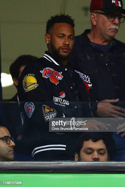 Neymar of Brazil looks on during the Copa America Brazil 2019 quarterfinal match between Brazil and Paraguay at Arena do Gremio on June 27 2019 in...
