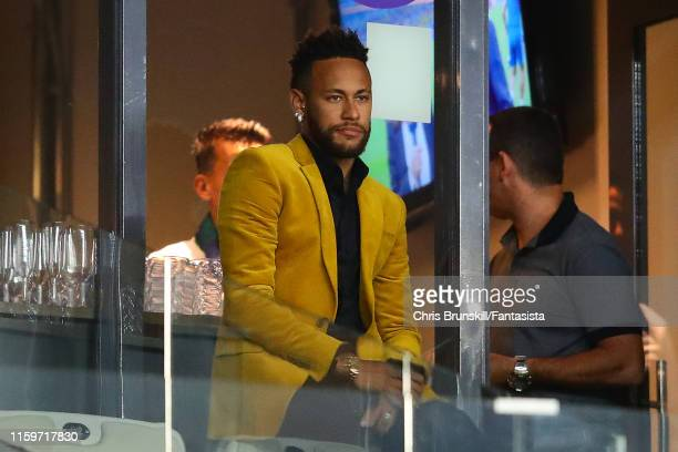 Neymar of Brazil looks on during the Copa America Brazil 2019 Semi Final match between Brazil and Argentina at Mineirao Stadium on July 02 2019 in...