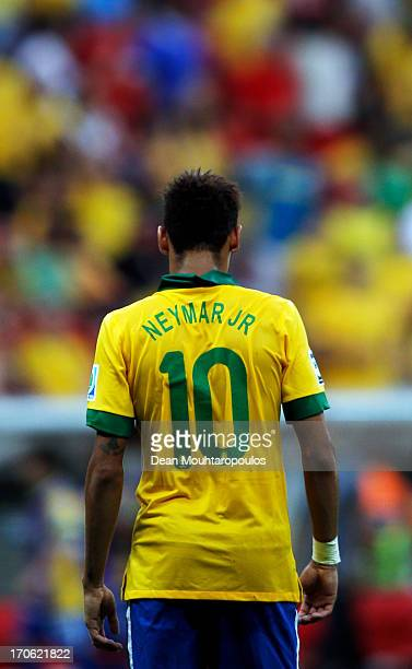 Neymar of Brazil looks on during the FIFA Confederations Cup Brazil 2013 Group A match between Brazil and Japan at National Stadium on June 15 2013...
