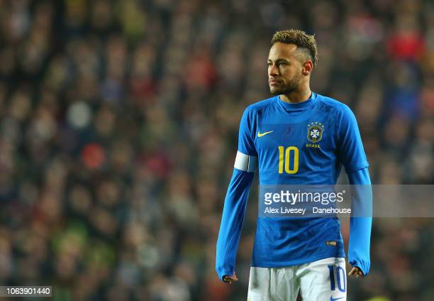 Neymar of Brazil looks on during the International Friendly match between Brazil and Cameroon at Stadium mk on November 20 2018 in Milton Keynes...