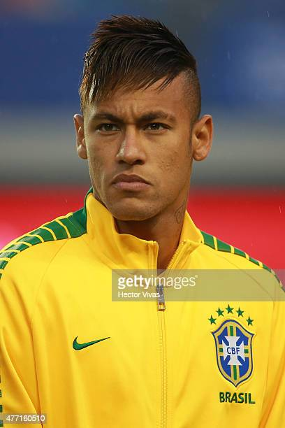 Neymar of Brazil looks on during the national anthem ceremony prior the 2015 Copa America Chile Group C match between Brazil and Peru at Municipal...