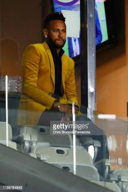 Neymar of Brazil looks on from the stands during the Copa America Brazil 2019 Semi Final match between Brazil and Argentina at Mineirao Stadium on...