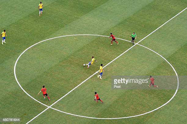 Neymar of Brazil passes the ball during the 2014 FIFA World Cup Brazil Group A match between Brazil and Mexico at Castelao on June 17 2014 in...