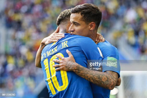 Neymar of Brazil Philippe Coutinho of Brazil during the 2018 FIFA World Cup Russia group E match between Brazil and Costa Rica at the Saint...
