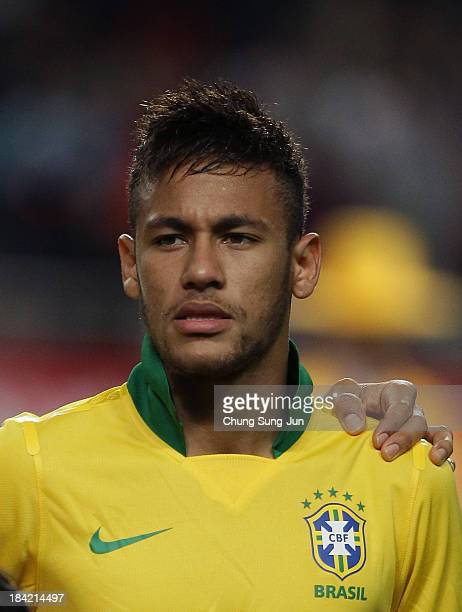 Neymar of Brazil poses during the international friendly match between South Korea and Brazil at the Sangam World Cup Stadium on October 12 2013 in...