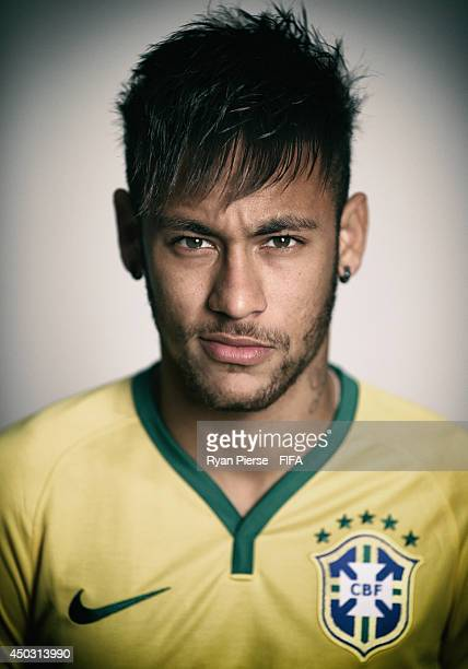 Neymar of Brazil poses during the official FIFA World Cup 2014 portrait session on June 8 2014 in Rio de Janeiro Brazil