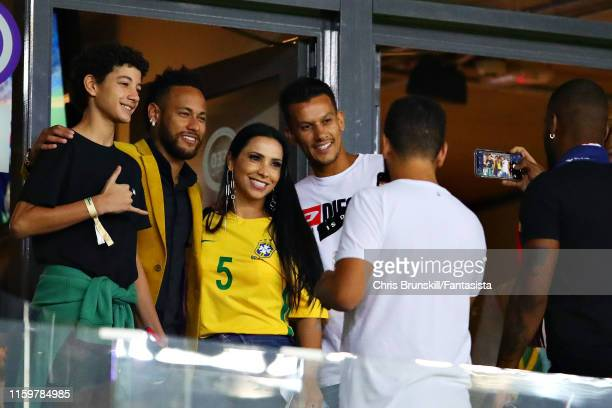 Neymar of Brazil poses for a photo with fans in the stands during the Copa America Brazil 2019 Semi Final match between Brazil and Argentina at...