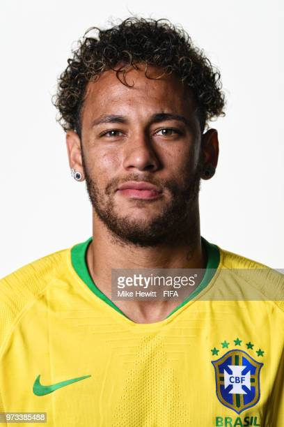 Neymar of Brazil poses for a portrait during the official FIFA World Cup 2018 portrait session at the Swissotel Resort Sochi Kamelia on June 12 2018...