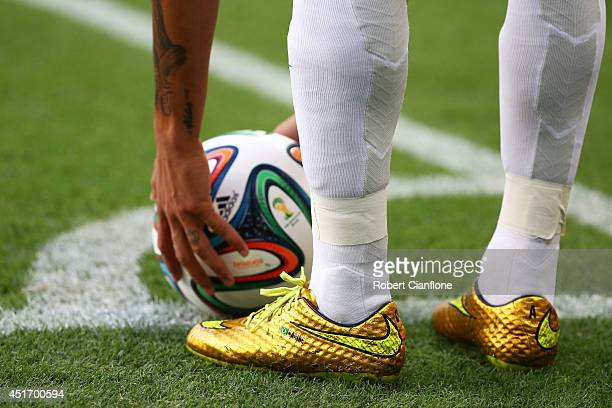 Neymar of Brazil prepares to take a corner kick during the 2014 FIFA World Cup Brazil Quarter Final match between Brazil and Colombia at Castelao on...