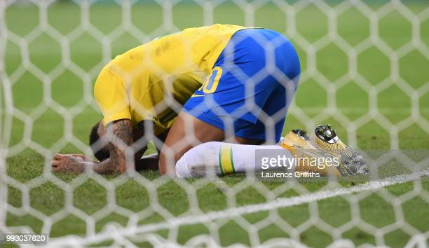 Neymar of Brazil reacts after a missed opportunity during the 2018 FIFA World Cup Russia Quarter Final match between Brazil and Belguim at Kazan...