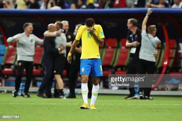 Neymar of Brazil reacts at full time during the 2018 FIFA World Cup Russia Quarter Final match between Winner Game 53 and Winner Game 54 at Kazan...