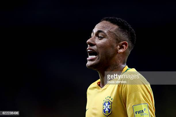 Neymar of Brazil reacts during a match between Brazil and Argentina as part of 2018 FIFA World Cup Russia Qualifier at Mineirao stadium on November...
