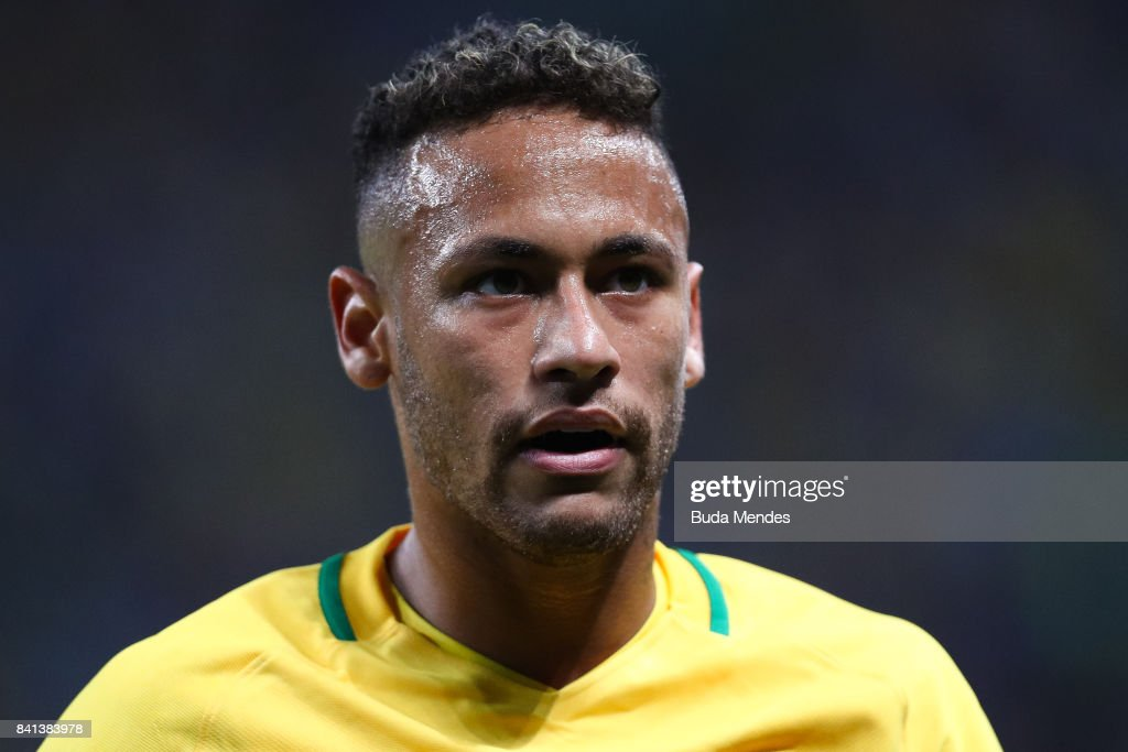 Neymar of Brazil reacts during a match between Brazil and Ecuador as part of 2018 FIFA World Cup Russia Qualifier at Arena do Gremio on August 31, 2017 in Porto Alegre, Brazil.