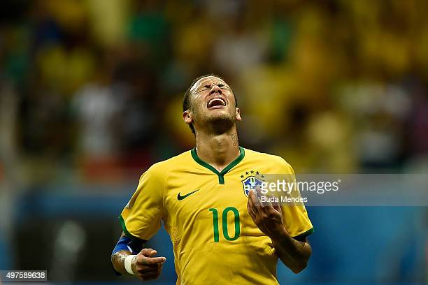 Neymar of Brazil reacts during a match between Brazil and Peru as part of 2018 FIFA World Cup Russia Qualifiers at Arena Fonte Nova on November 17...