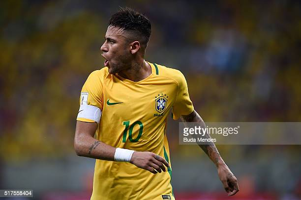 Neymar of Brazil reacts during a match between Brazil and Uruguay as part of 2018 FIFA World Cup Russia Qualifiers at Arena Pernanbuco on March 25...
