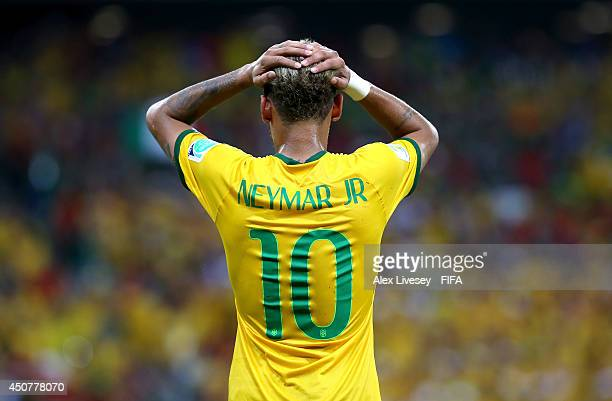Neymar of Brazil reacts during the 2014 FIFA World Cup Brazil Group A match between Brazil and Mexico at Estadio Castelao on June 17 2014 in...