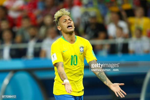 Neymar of Brazil reacts during the 2018 FIFA World Cup Russia group E match between Brazil and Switzerland at Rostov Arena on June 17 2018 in...