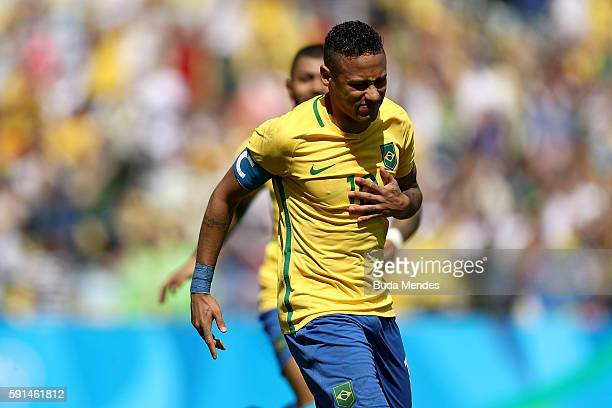 Neymar of Brazil reacts during the Men's Semifinal Football match between Brazil and Honduras at Maracana Stadium on Day 12 of the Rio 2016 Olympic...