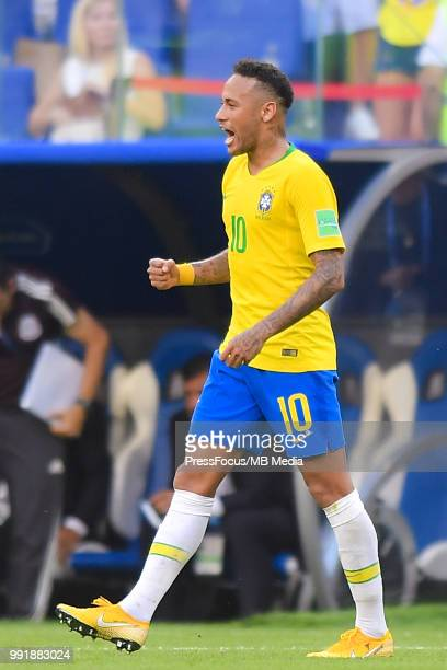 Neymar of Brazil reacts Jorge Sampaoli Manager of Argentina the end of the 2018 FIFA World Cup Russia Round of 16 match between Brazil and Mexico at...