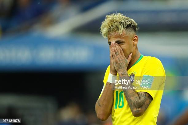 Neymar of Brazil reacts to a missed chance during the 2018 FIFA World Cup Russia group E match between Brazil and Switzerland at Rostov Arena on June...